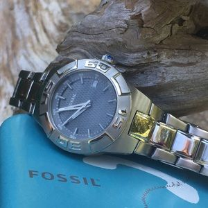 Fossil PR5333 Stainless Steel/Grey Date Watch NWT